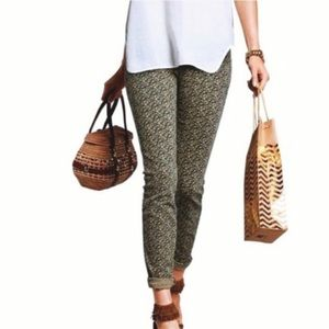 CAbi Ditsy Small Floral Green Skinny Jeans
